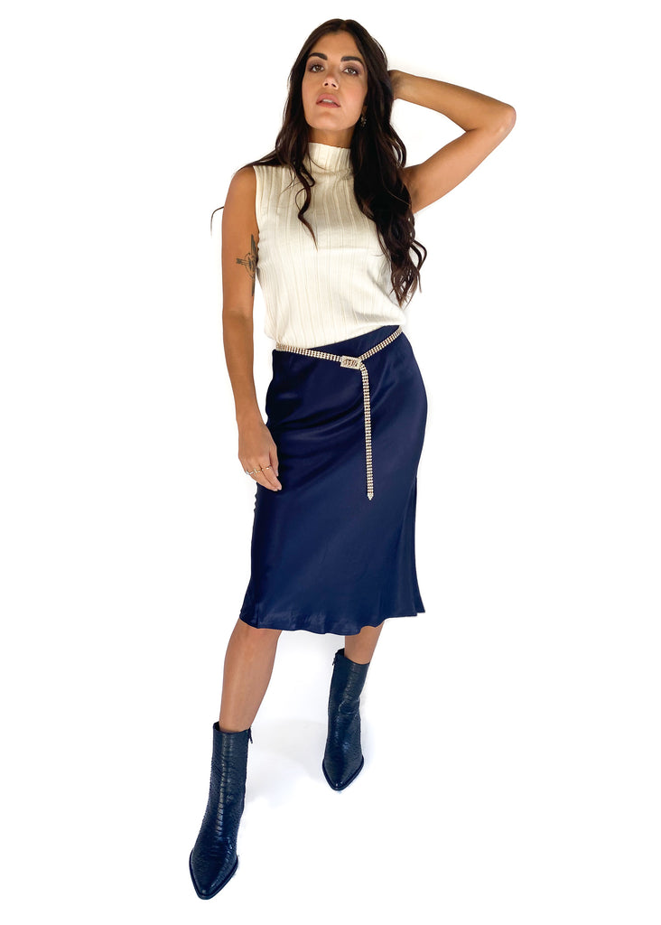 PREORDER LUCY PARIS | Paola Bias Skirt in Navy