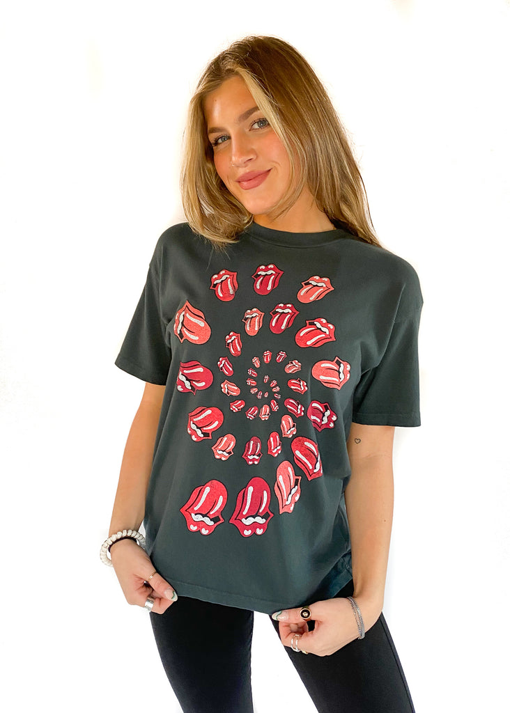 DAYDREAMER | Rolling Stones Spiral Tongue Tee In Vintage Black