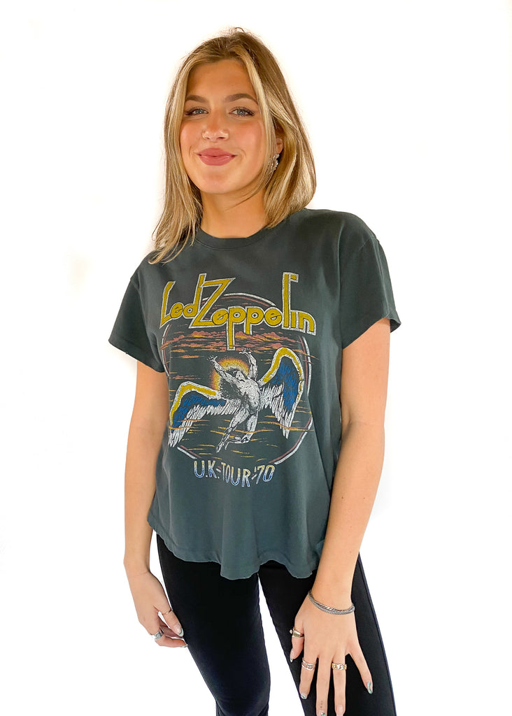DAYDREAMER | Led Zepplin US 1977 Tour Tee In Vintage Black