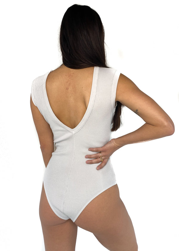 AGOLDE | Sutton V Back Bodysuit in Still Life