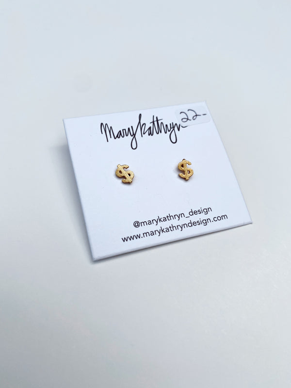 Mary Kathryn | Gold Money Sign Stud Earrings