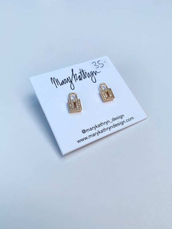 Mary Kathryn | Small Sparkle Lock Stud Earrings
