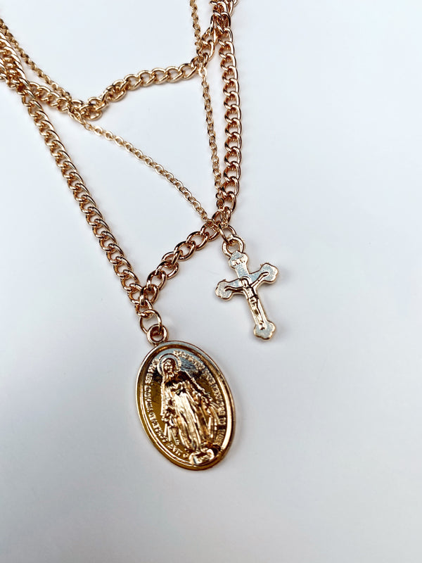 Mary Kathryn | Katlin Cross + Saint Layer Necklace