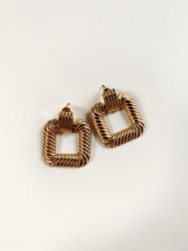 Mary Kathryn | Gold Square Hoop Earrings