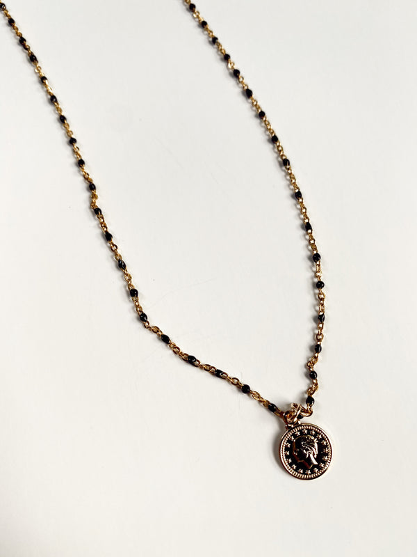 Mary Kathryn | Black + Gold Chain Necklace with Small Coin
