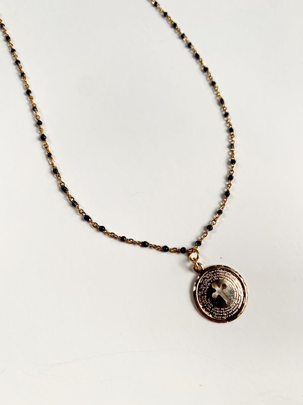 Mary Kathryn | Black + Gold Chain Necklace with Cross Pendant