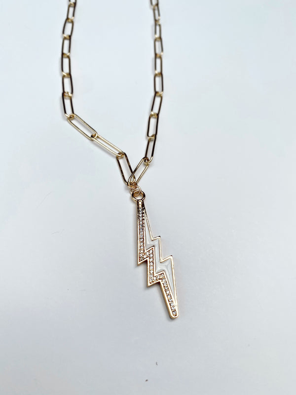 Mary Kathryn | White Lightning Bolt Chain Necklace