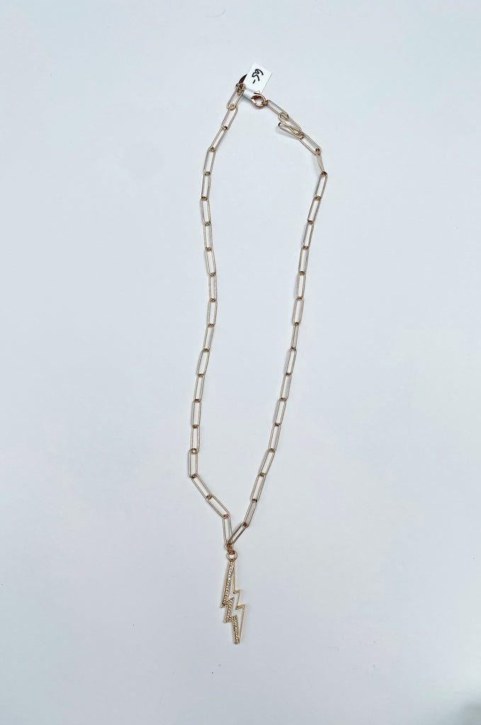 MARY KATHRYN DESIGN | White Lightning Bolt Chain Necklace