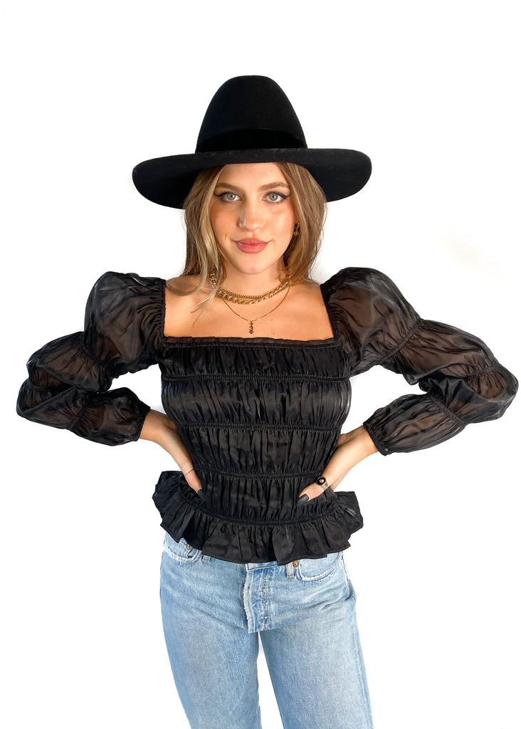 LUCY PARIS | Julieta Smocked Top in Black