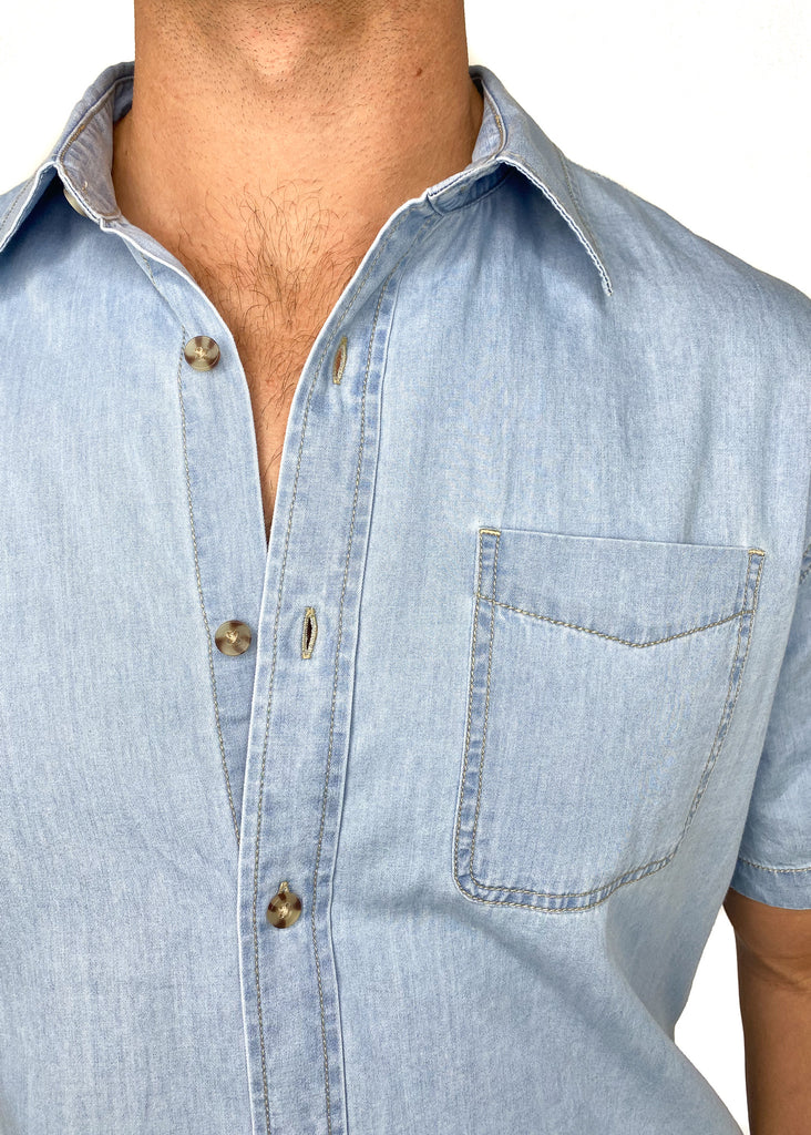 THE NORMAL BRAND | Chambray Short Sleeve Button Down Shirt