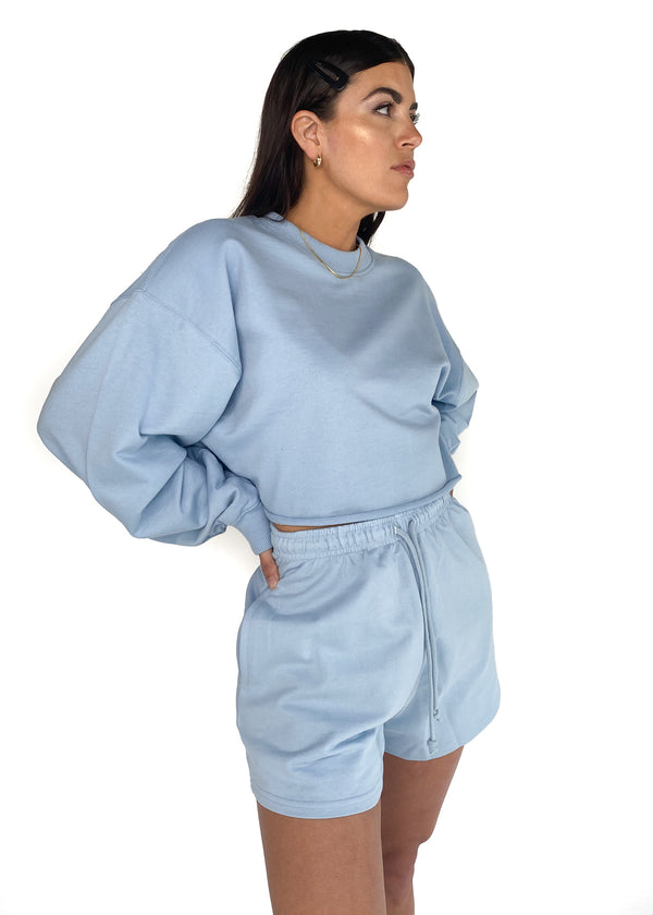 DAISY STREET | Codi Crop Sweatshirt in Blue