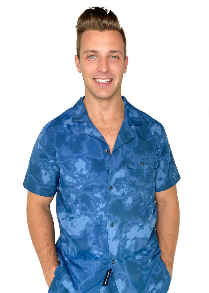 NATIVE YOUTH | Bursera Shirt in Blue Tie Dye Print