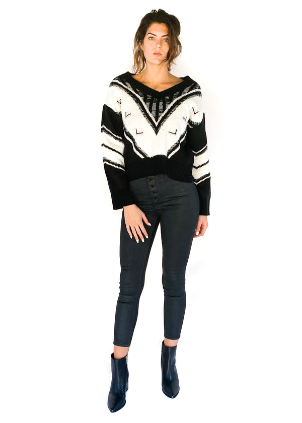 LINE AND DOT | Helena Sweater in White and Black