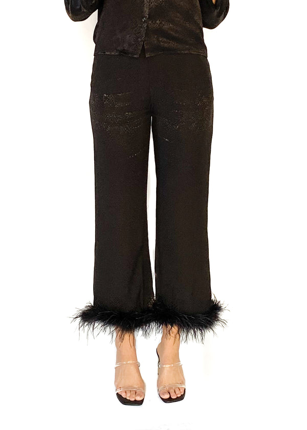 LUCY PARIS | Black Louisa Feather Trim Pant