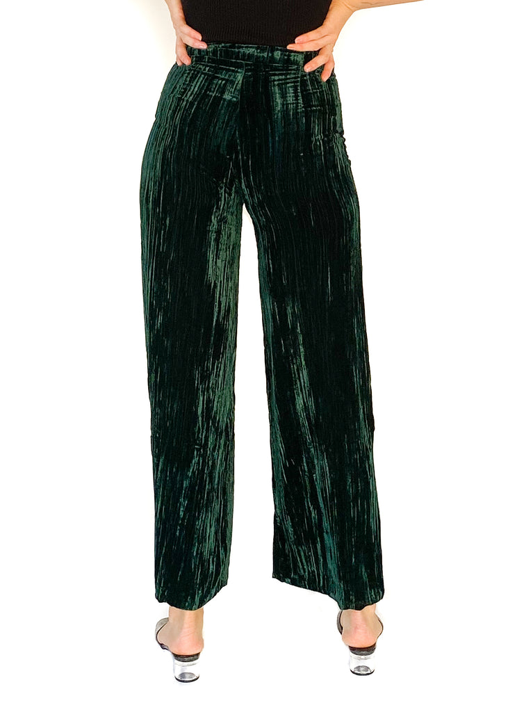 LUCY PARIS | Green Petra Velvet Pants