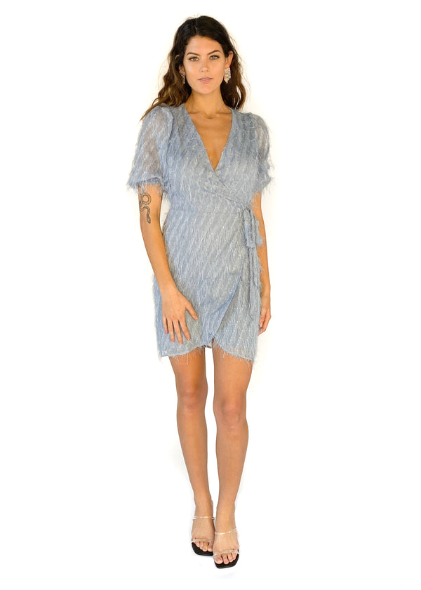 LUCY PARIS | Lennox Blue Feather Dress