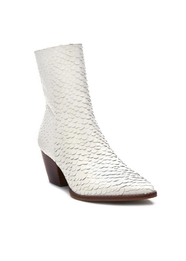 MATISSE | Caty Snake Boot in White with Brown Heel