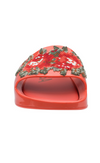 MELISSA | Floral Beach Slide in Warm Red