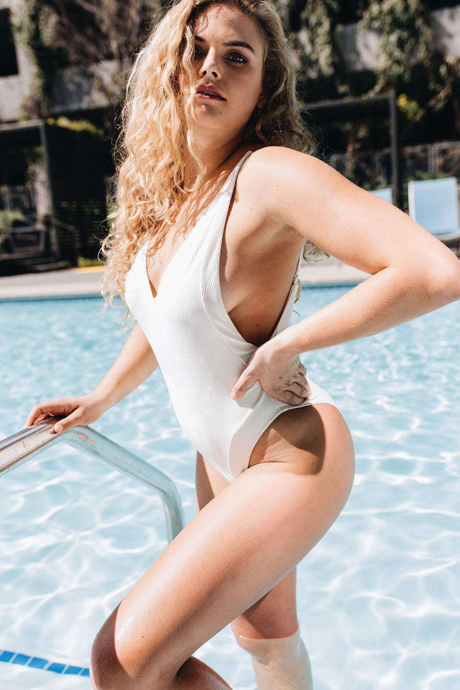 Ris-K | White Ribbed One Piece