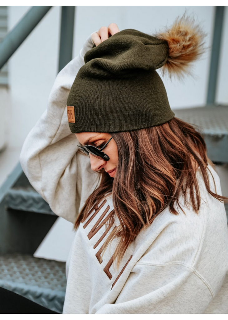 NASH COLLECTION | Slouch Fur Pom Beanie