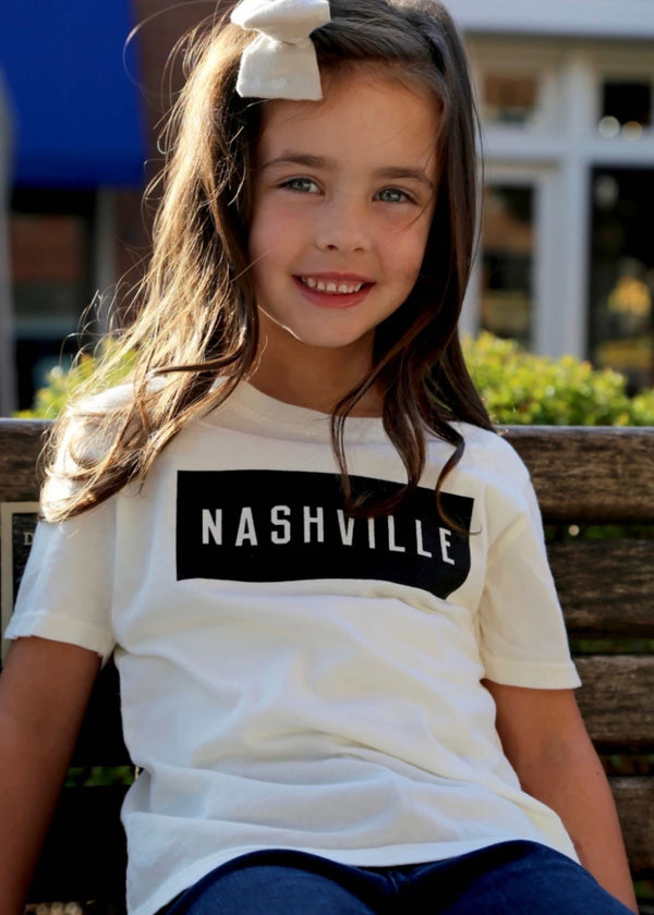 NASH COLLECTION | Youth Nashville Box Tee in Cream and Black