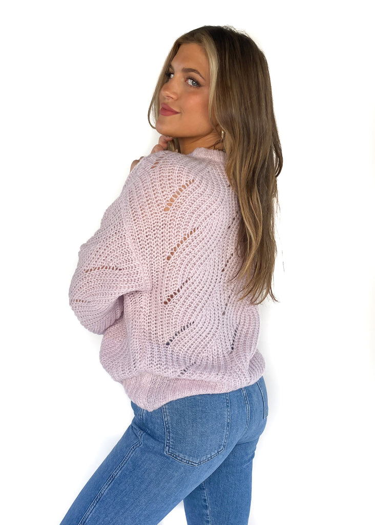 native youth balloon sleeve knitted light weight sweater lilac box waist