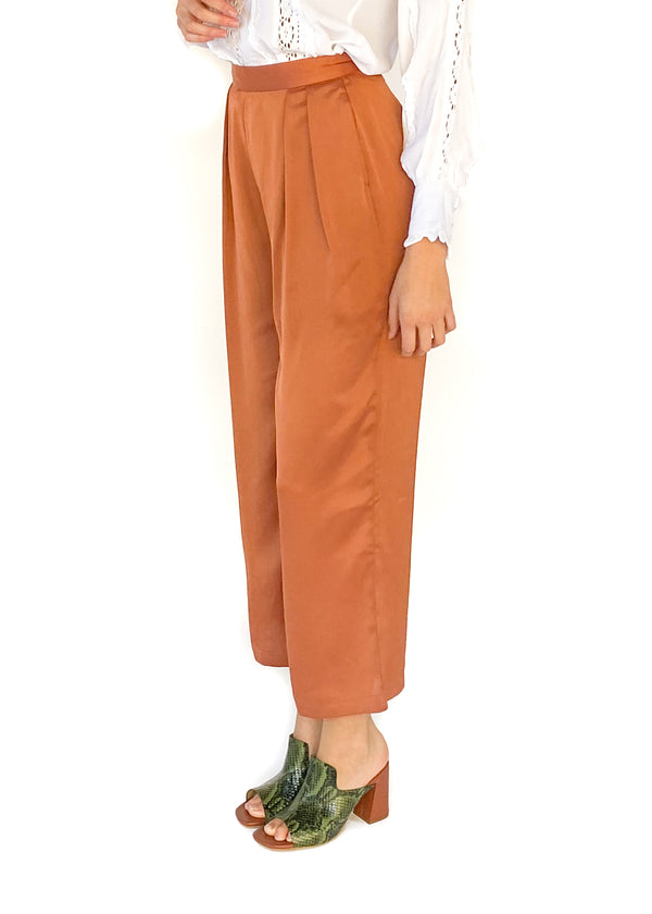 NATIVE YOUTH | The Sofia Wide Leg Pant in Rust