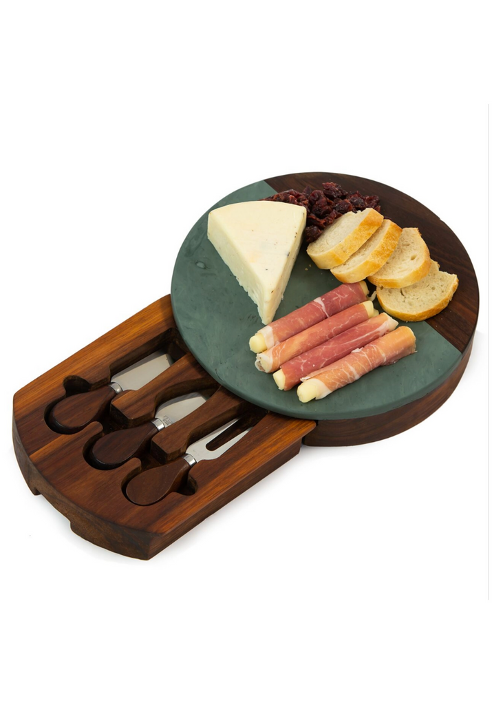 OAK & OLIVE | Winslow Marble & Wood Cheese Board + Tool Set