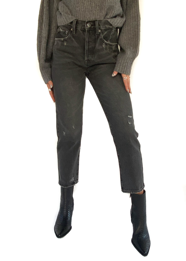 pistola high rise straight leg cameo distressed