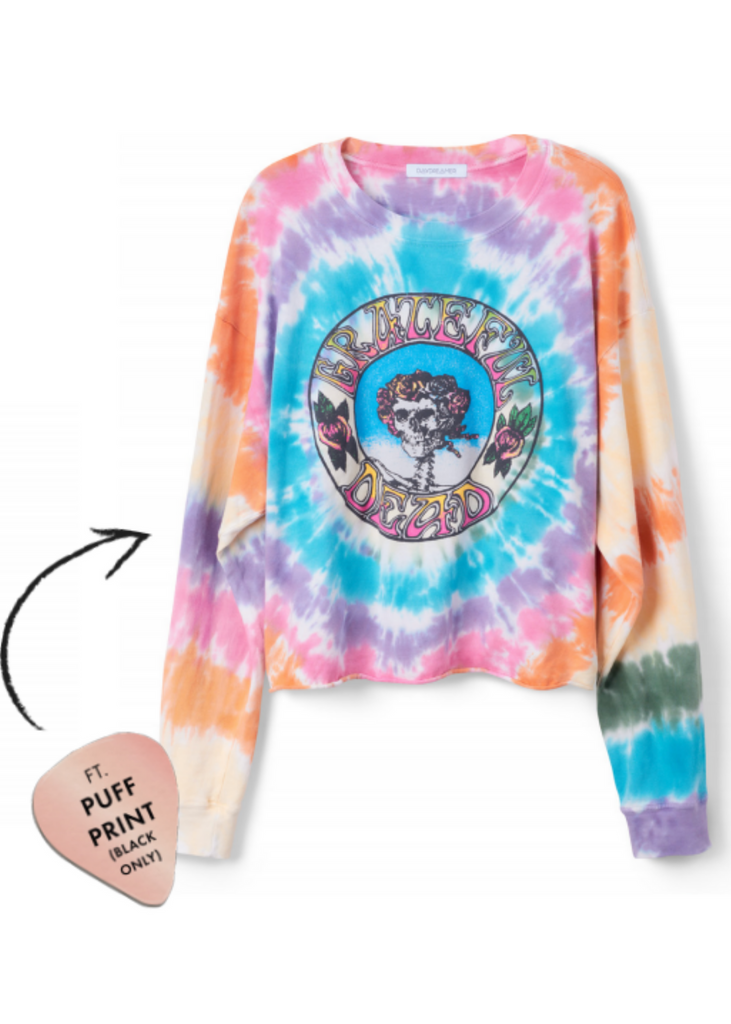 DAYDREAMER | GRATEFUL DEAD TIE DYE LONG SLEEVE CROP