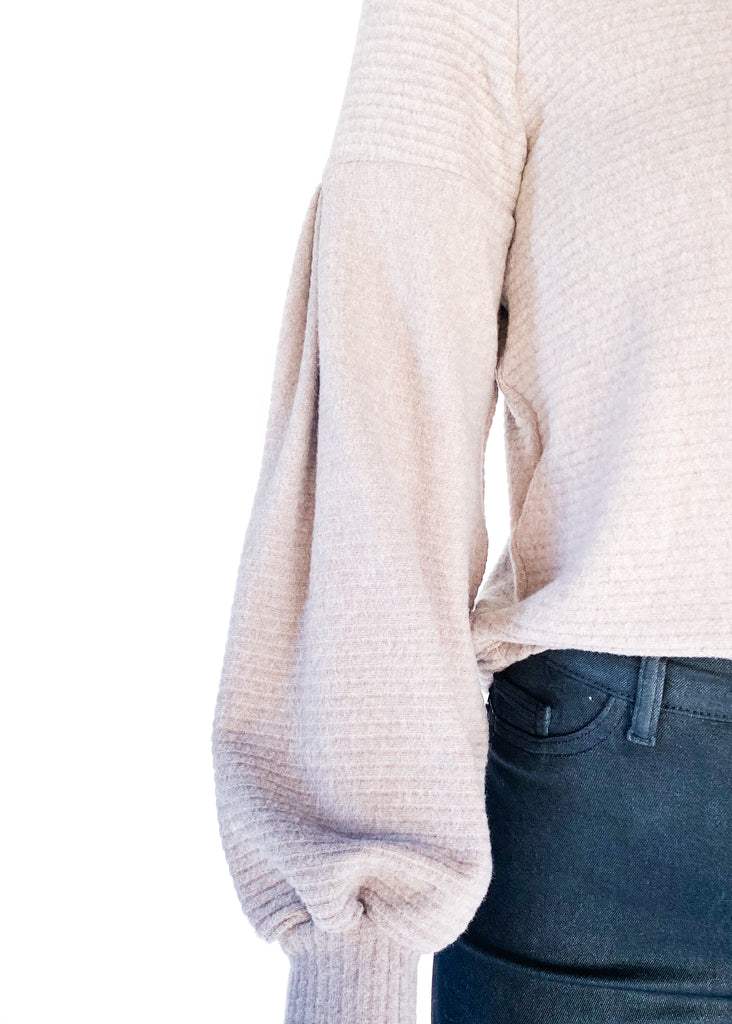 PROJECT SOCIAL T | Ribbed Sweater with Puff Sleeve in Taupe