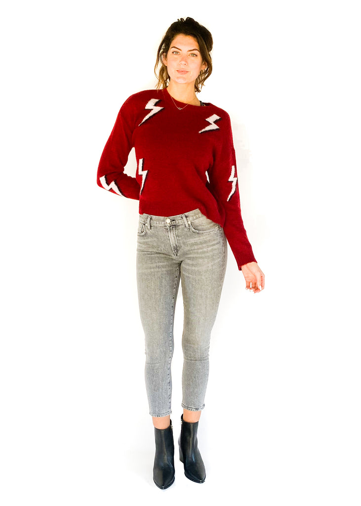 RAILS | Aries Lightning Bolt Sweater in Red