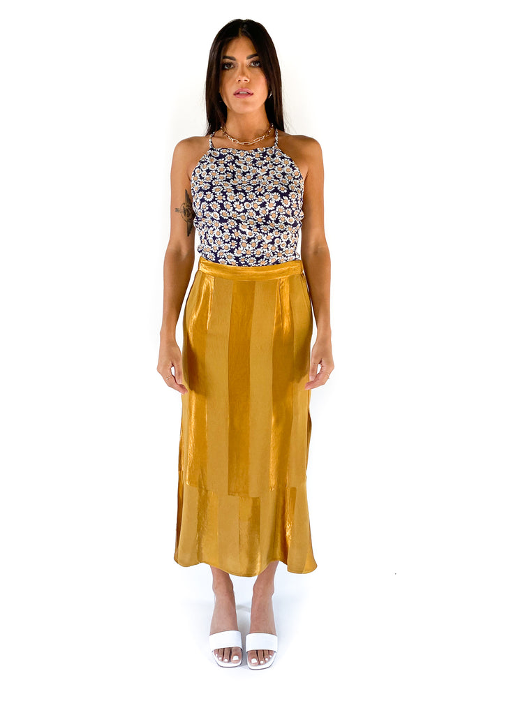 SALTWATER LUXE | Lee Wide Stripe Midi Skirt in Amber