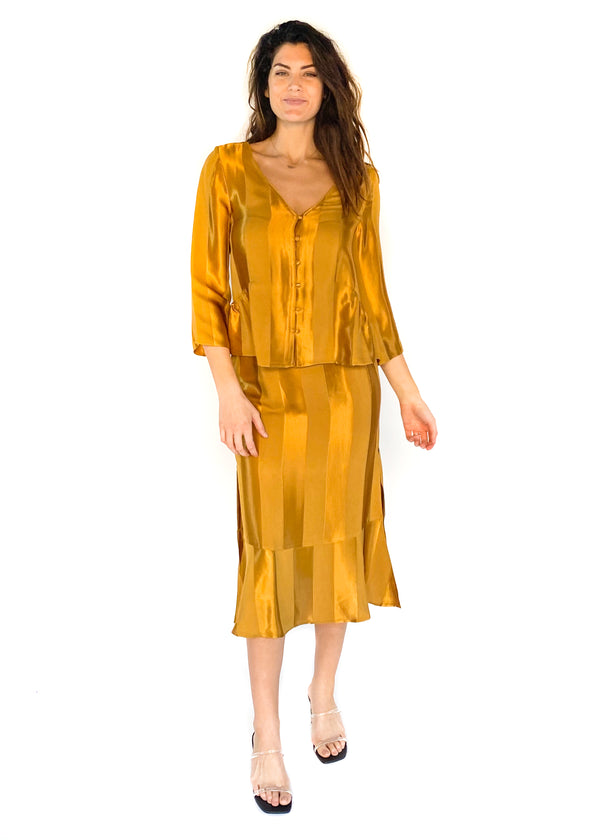 SALTWATER LUXE | Meadow Wide Stripe Blouse in Amber