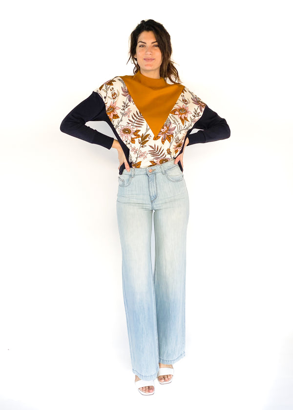 SCOTCH & SODA | Color Block Floral Sweatshirt