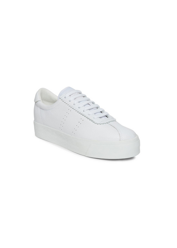 SUPERGA | Club 3 White Leather Platform Sneaker