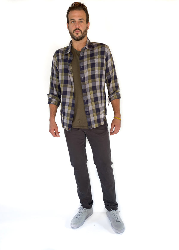 THE NORMAL BRAND | Nikko Button Down in Grey Plaid