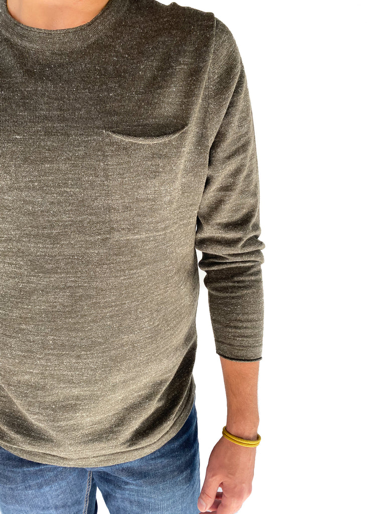 THE NORMAL BRAND | Roll Hem Pocket Crew Sweater in Green