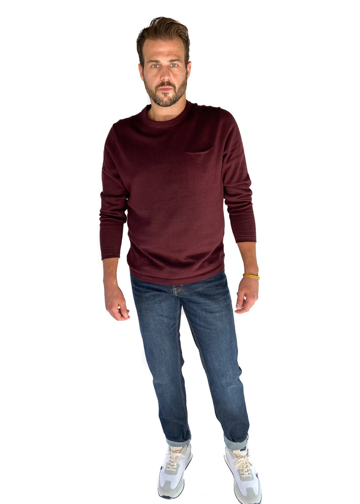 THE NORMAL BRAND | Roll Hem Pocket Crew Sweater in Burgundy