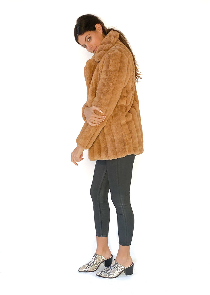 MINK PINK | Kimbra Fur Jacket in Tan