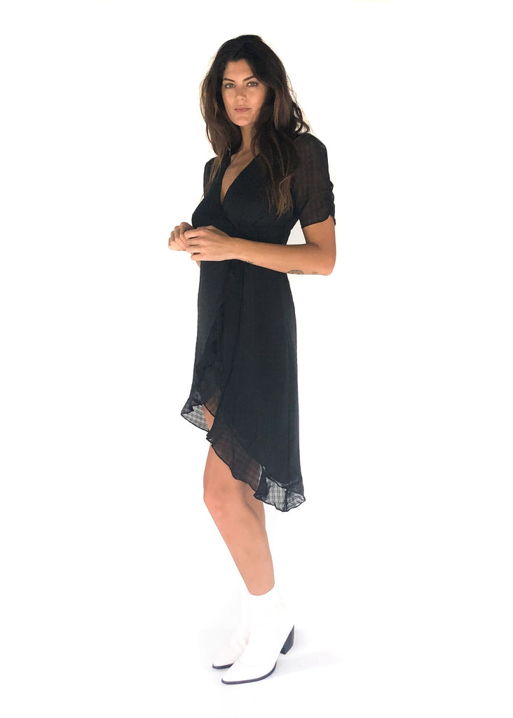 4SI3NNA | Valerie Mini Wrap Ruffle Dress in Black