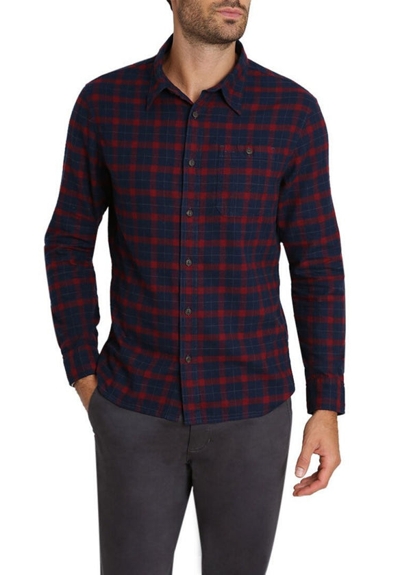 JACHS NY | Brushed Plaid Flannel Shirt in Navy and Red