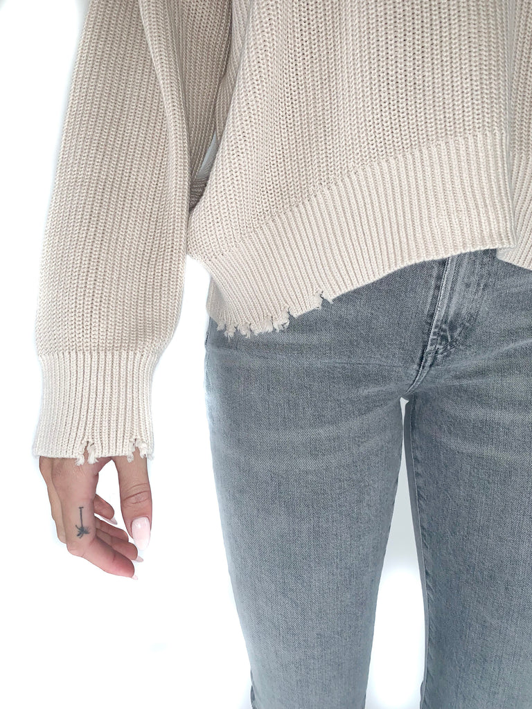 PISTOLA | Eve Distressed Roundneck Pullover in Dove