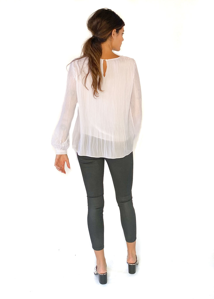 HARPER WREN | White Pleated Blouse