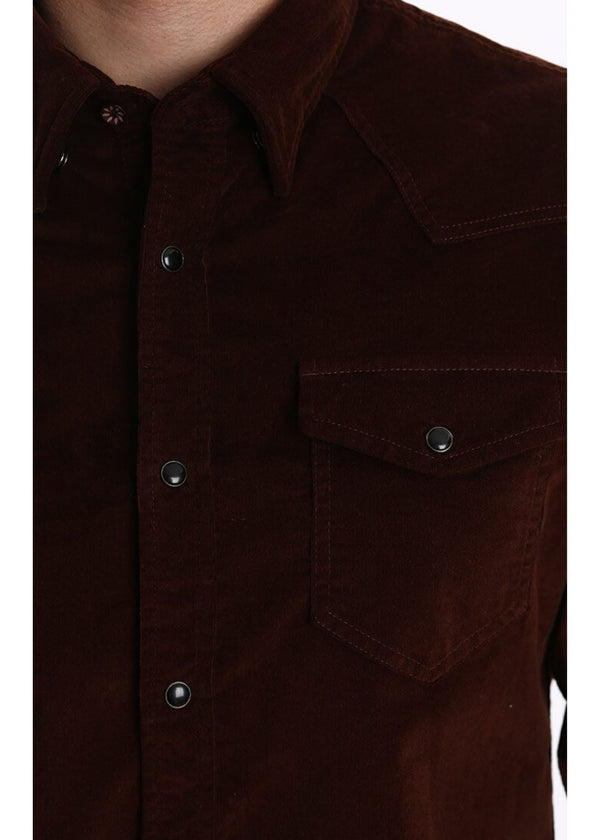 JACHS NY | Corduroy Western Shirt in Brown