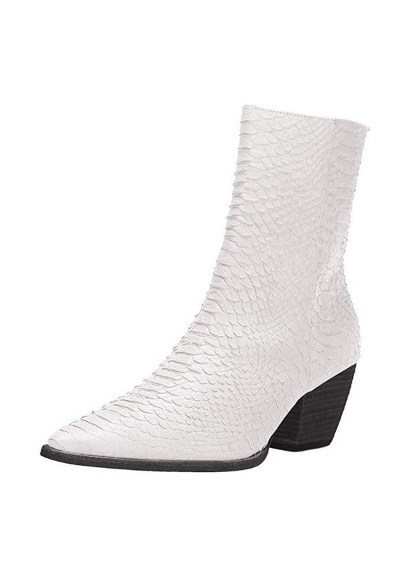 MATISSE | Caty Snake Boot in White with Black Heel