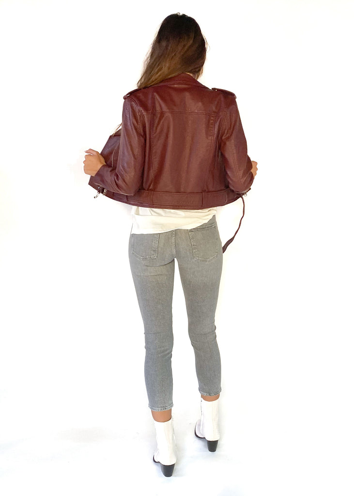 PISTOLA | Tracy Cropped Moto Jacket in Mahogany
