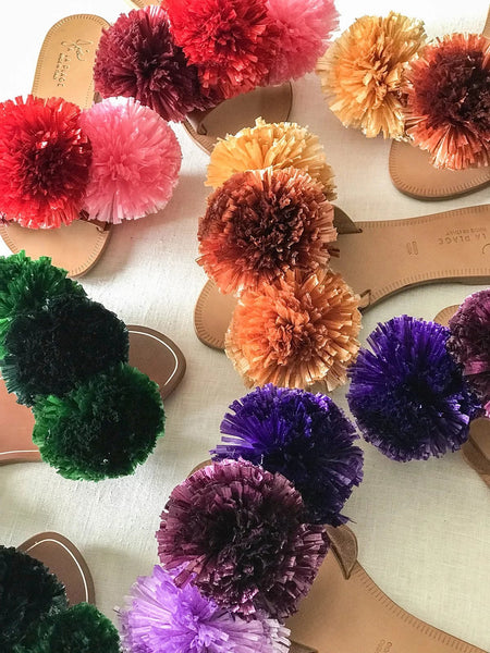 cool diy raffia pom pom slides