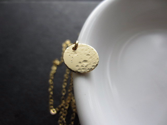 lullaby small full moon necklace in 14k solid gold - rebelbyfate jewelry
