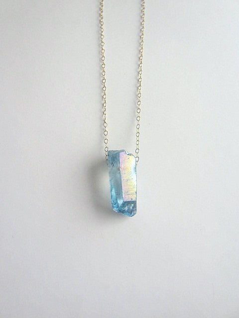 raw titanium quartz necklace